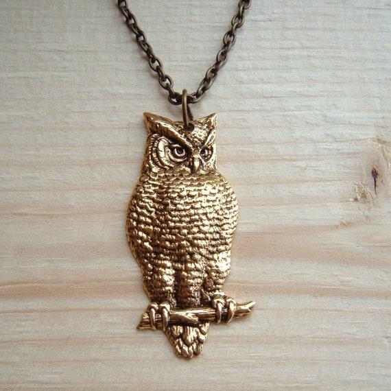 Victorian Owl Necklace  Antique Brass