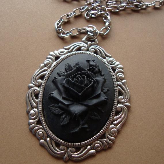 Black Rose Cameo Necklace Victorian