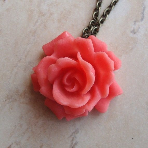 Rose - Rosebud Necklace in Soft Coral Red
