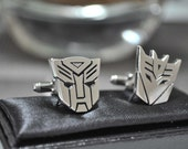 Silver Plated Transformer AUTOBOTS and DECEPTICON Cufflinks with Gift Box