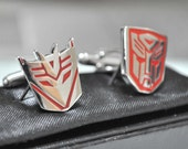 Silver Plated RED Transformer AUTOBOTS and DECEPTICON Cufflinks