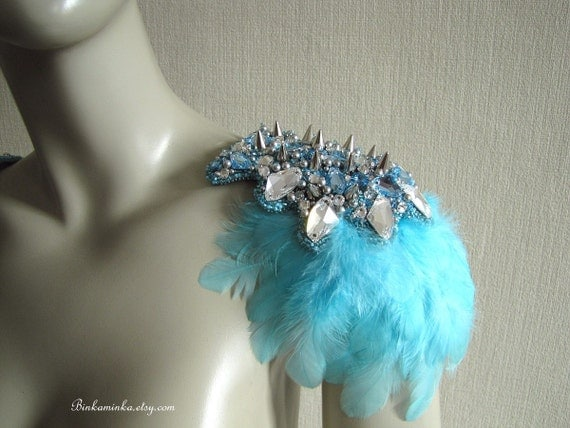 Blue Bird Feather Epaulettes RESERVED