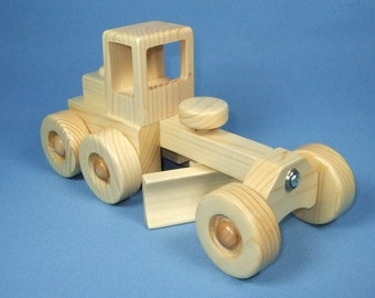 Handcrafted Wooden Toy Road Grader