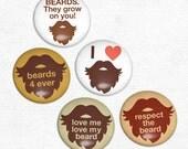 Magnets  - Beard Love Original 1 in. Magnet Set of 5