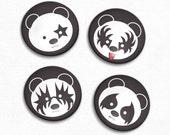 Panda Bear Kiss Inspired Magnet Set of 4 - Original Illustrations
