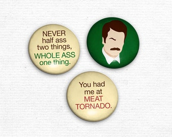 Ron Swanson Button Set of 3 Parks and Recreation inspired pin back buttons