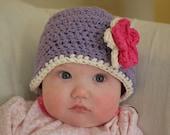 Crocheted Infant Flower beanie