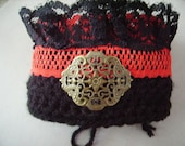 Goth Cuff red lace metal filigree medallion Victorian black crochet and lace Steam Punk style