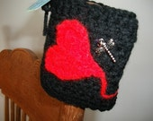 Heart on a String Cuff bracelet crochet dragonfly satin purple red black band goth