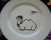 Desert dessert My SteamPunk Camel black and white plate palm tree Egyptian lunch