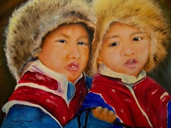 Wall Art Children of Tibet Painting  Horses OOAK Oils Tibetan Portrait Now new lower price