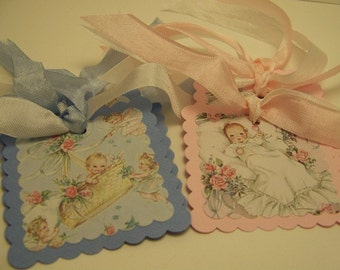 Baby Tags - Vintage Syle - Set of 6