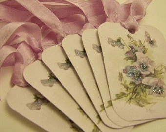 Pansy Gift Tags Floral gift Tags Wedding Wish Tags Floral Favors All Occasion Tags Birthday Bridal Shower Etc Set of 6 or 9