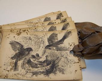Bird Tags - Vintage Rustic - Set of 6