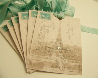 Paris Tags Eiffel Tower Tags French Script Post Card Collaged Vintage French Style All Occasion Tags Wedding Wish Tags- Set of 6 or 9