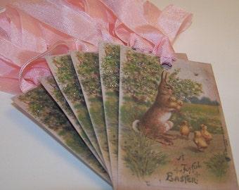 Easter Tags - A Joyful Easter - Vintage Style - Set of 6