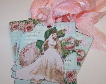 Wedding Tags - Bride Tags - Vintage Collage Style - Set of 6 or 9