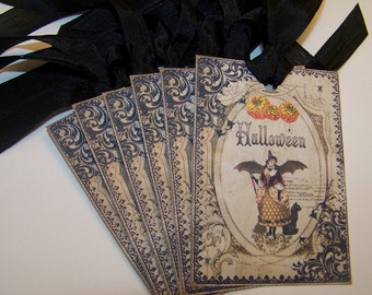 Halloween Taga Witch and Black Cat Tags Vintage Style Set of 6 or 9