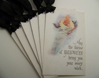 Halloween Fairy Tags - Vintage Style -  Set of 6
