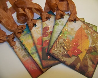 Autumn Tags Autumn Leaf Tags Thanksgiving Tags Place Cards Favors Gift Set of 6