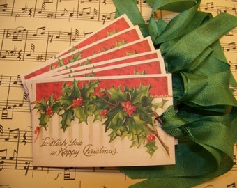 Christmas Tags Christmas Holly Tags Vintage Style - Set of 6 or 9