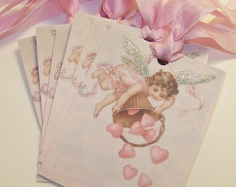 Valentines Day Tags  Cherub Tags Pink Hearts Shabby Vintage Style Journaling Cards Junk Journal Supplies Set of 6 or 9