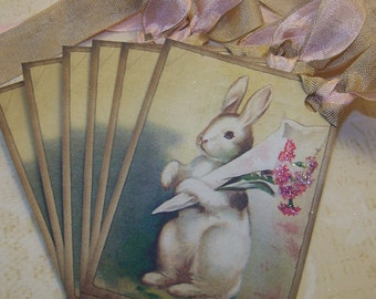 Easter Bunny Tags Easter Tags Vintage Style All Occasion Bunny Gift Tags Set of 6 0r 9