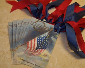 4th of July Tags - Red White and Blue Tags - Patriotic Tags