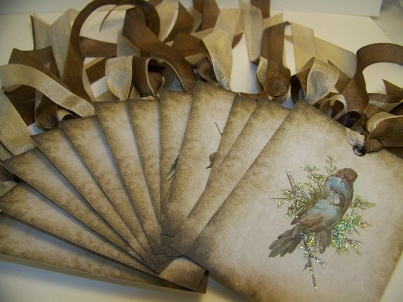 Bird Tags - Rustic Vintage - Set of 12