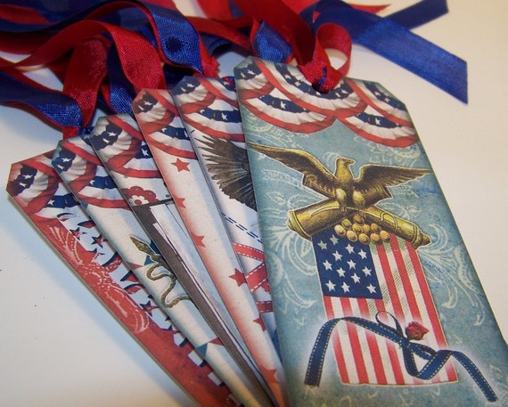 Patriotic Tags 4th of July Tags Americana Tags Independence Day Tags Set of 6
