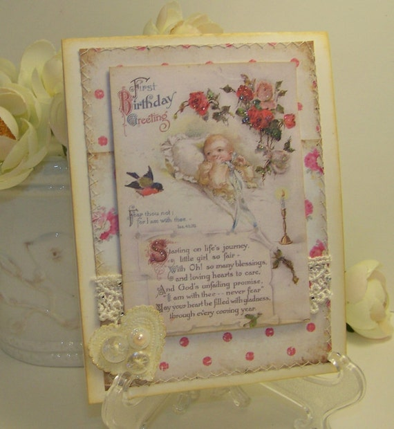 Birthday Card for Baby - Religious - Shabby Vintage Style