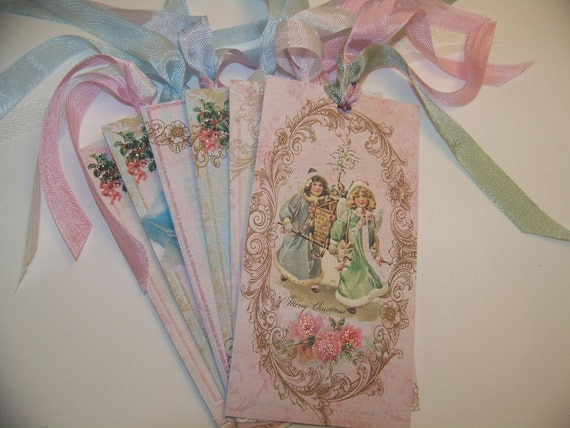 Christmas Tags - Shabby Vintage Style - Set of 6