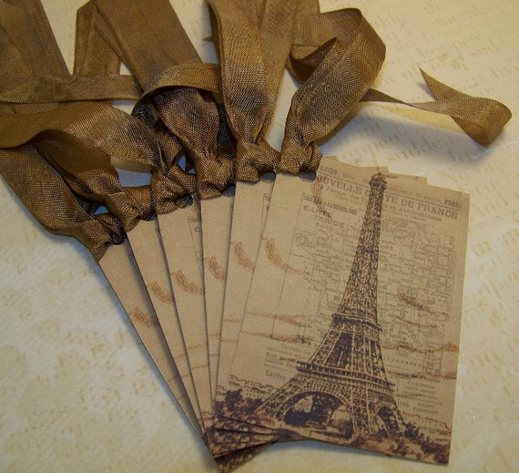 Paris Tags - Eiffel Tower - Brown and Tan - Set of 6