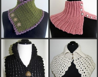 PDF Crochet Pattern- Quick and Easy Crocheted Scarflette Pattern Set (6 different designs)