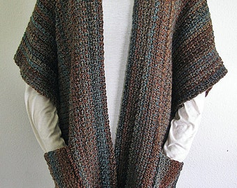 PDF Crochet Pattern- Indian Summer Ruana (Wrap, Shawl)