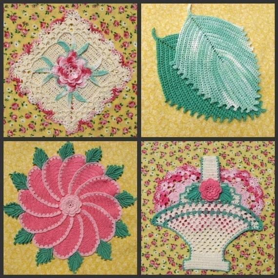 PDF Crochet Pattern- Decorative Thread Potholders   (25 different designs)