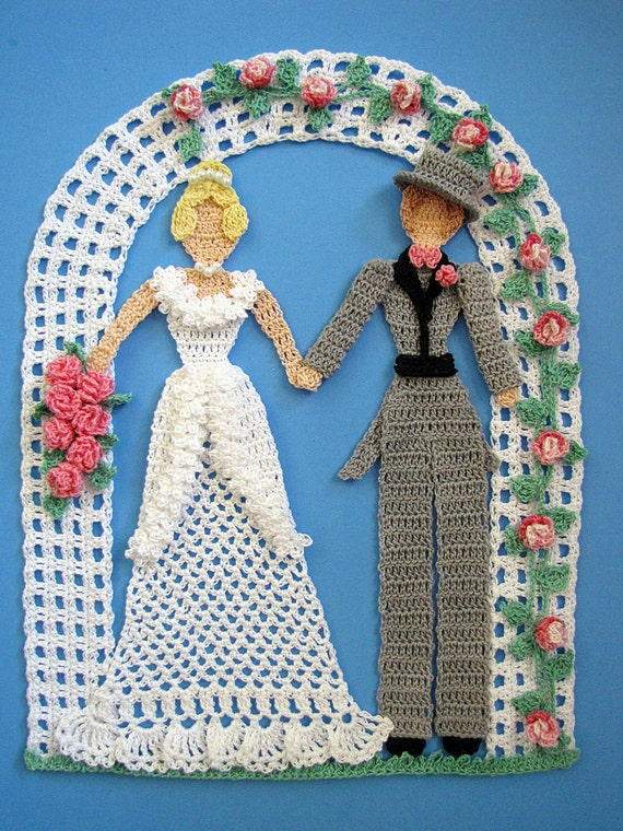 PDF Crochet Pattern -Happily Ever After Doily  (Wedding Bride Groom Doily)