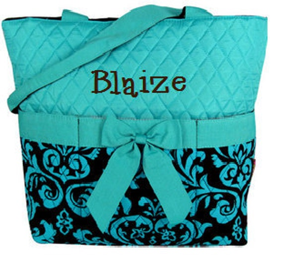 Boutique Turquoise and Brown Damask Quilted Diaper Bag Monogrammed Personalized