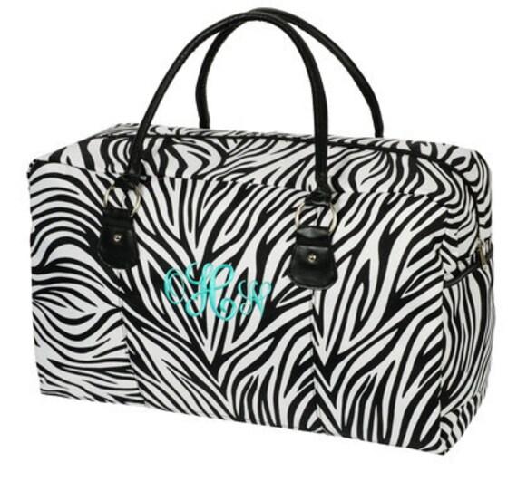 Monogrammed Zebra Print Weekender Travel Bag Personalized