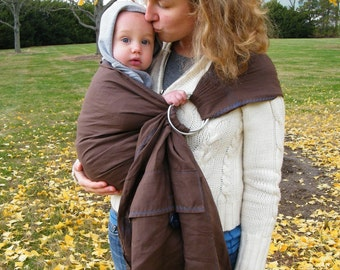 Chocolate Brown Linen Ring Sling With A Pocket --Simple And Unique--