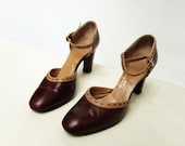 Vintage Shoes 70s MaryJane 1970s Vintage Coffee Mocha High Heel Sz 8