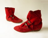 SALE 1980s Vintage Red Suede Slouch Boot Sz 5