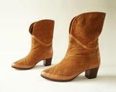 1980s Vintage Fur Lined Suede Boots Sz 5