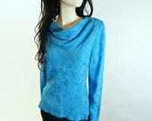 1980s Vintage Silk Sky Blouse Size S