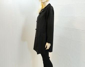 1960s Vintage Coat, Black Mod Coat, Black Spring Coat, 1960s Black Trench, Light Black Coat, 60s Black Trench, s