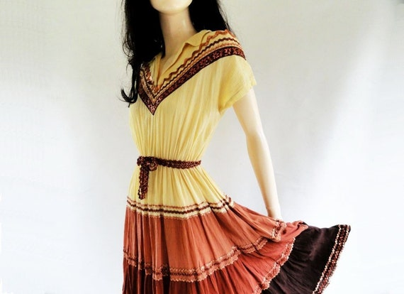 40s Dress / Vintage 1940s Dance Dress / S / M