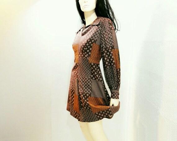 70s Dress Mini 1970s Vintage Brown Patchwork Dress / s