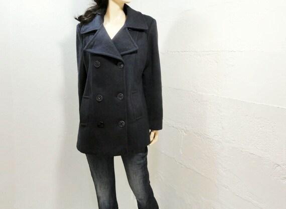 Vintage Pea Coat  1960s Jacket Navy Wool Size M / L