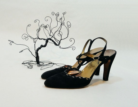 Vintage Shoes 1970s Black Heels Arnold Churgin Handmade Italy Size 7.5