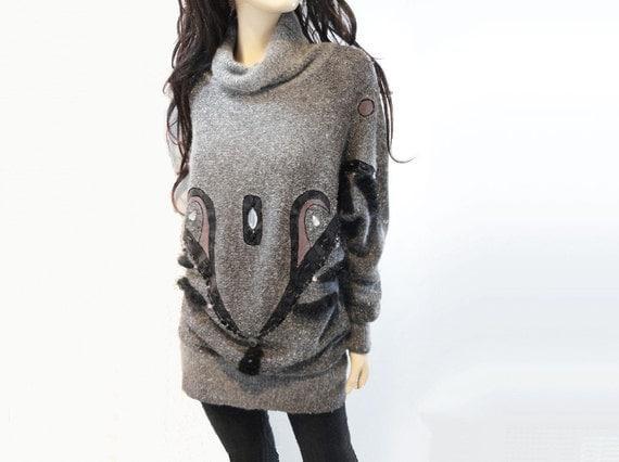 Vintage Sweater Gray 1980s Wool Motif Long Silk Angora Knit / Dress